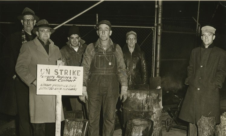 old photo of union workers striking