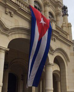 cuban flag on building in cuba