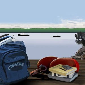 Summer University 2018 poster art depicting backpack and books by the ocean